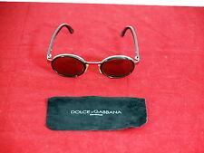 Dolce & Gabbana Gold Tone Brown Oval Frame Dark Brown Lens Sunglasses DG 9025