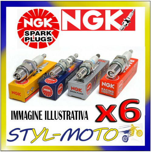 """KIT 6 CANDELE NGK B6HS JAGUAR MK VII 3.4 1952 ½/"""", 12.7mm Thread Reach"""