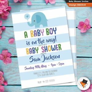 Personalised Baby Shower Party Invitations Invites For Boy Blue