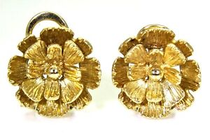 Vintage Sculptural Flower 9ct Yellow Gold Clip On stud earrings