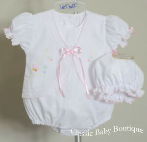 NWT-Will-039-beth-White-Pink-2pc-Butterfly-Bubble-Set-Preemie-Baby-Girls-Size-00