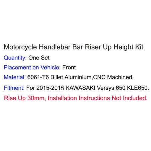 """7//8/"""" 22mm Handlebar Riser Kit Move Bar Up 30mm Fit 2015-2018 KAWASAKI Versys 650"""