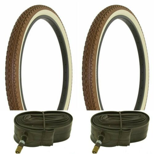 "26x2.125/"" BROWN// CREAM WALL bike bicycle beach cruiser TIRES// TUBES Schwinn s2 X"
