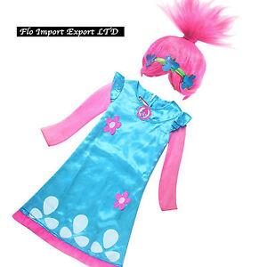 Trolls-Poppy-Vestito-Bambina-Carnevale-Maschera-Cosplay-Girl-Dress-Wig-TROLC03