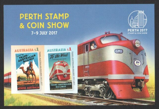 AUSTRALIA 2017 PERTH STAMP SHOW TRANS AUSTRALIAN RAILWAY IMPERF. SOUVENIR SHEET