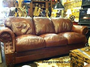 Made In The Usa 100 Top Grain Two Toned Leather Sofa Living Room