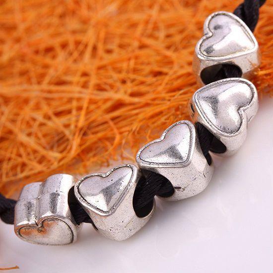 Kf400*30PC Tibetan Silver Heart LOVE Big Hole Charm Beads Fit European Bracelet