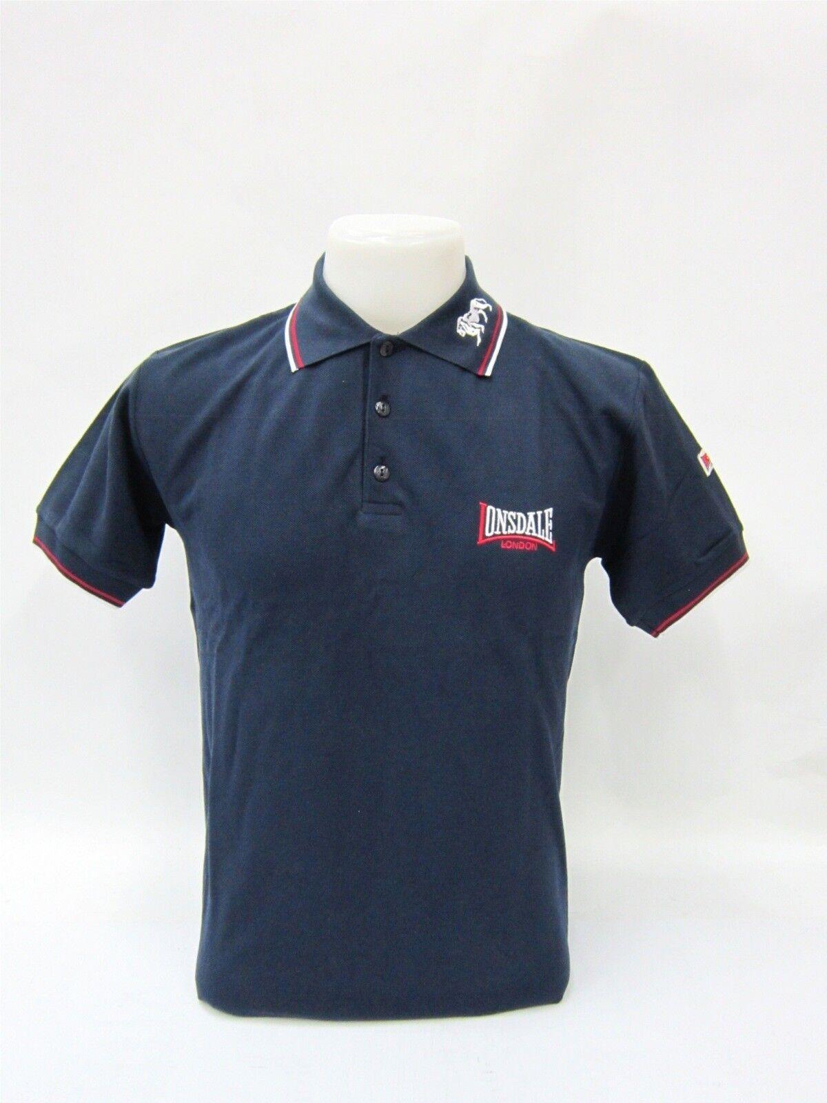 Lonsdale Polo Shirt Dunkelblau   Weiß   Rot mit Kragenstick  5064
