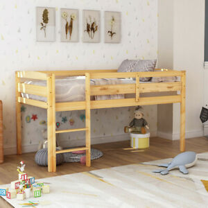Twin Size Wood Loft Bed W Ladder Heavy Duty Low Loft Bed Frame Kids Teen Bedroom Ebay