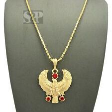 "Gold PT Egyptian Red Horus Bird Pendant W/ 24"" Box Chain Hip Hop Necklace XSP493"