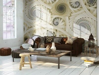 Paper wallpaper in large size wall mural Spiral modern design Yellow 100x72inch