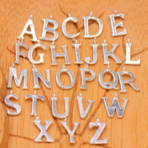 Solid 925 Sterling Silver A-Z Letter Alphabet Initial DIY Charm Pendant 10x8mm