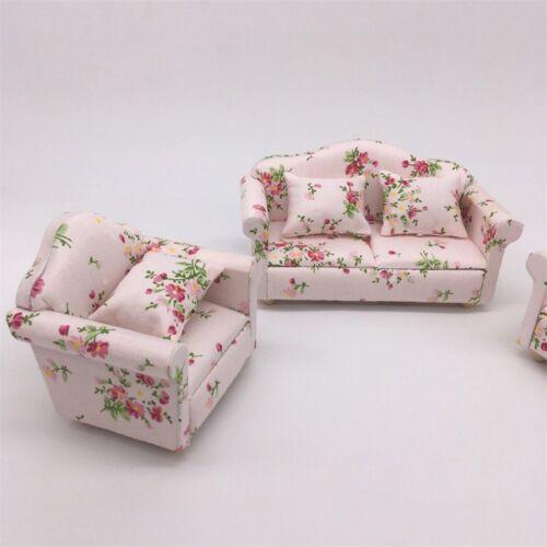 3 Dollhouse Miniature Living Room Furniture Sofa Armchair Couch Cushion Set 1:12