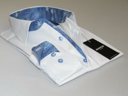 Mens Makrom London Turkish Shirt Cotton Blend European  5942 White Jean Trims