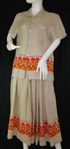 Vtg COMME DES GARCONS Linen Shirt & Skirt 2 Piece