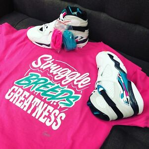 check out 64c7e 4757b Details about Shirt Match Jordan 8 South Beach Turbo Green Shoes - Struggle  Breeds Tee