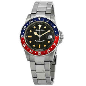 Mathey-Tissot-Mathey-Vintage-Automatic-Blue-and-Red-Pepsi-Bezel-Men-039-s-Watch