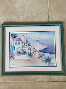 Print-of-Watercolor-Painting-by-Terry-Madden-Artwork-Reproduction-Seaside-Framed