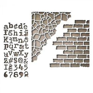 Sizzix-Thinlits-Die-3pk-Set-Mixed-Media-3-by-Tim-Holtz-Brick-Alphabet