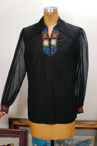 Vintage 60s Sheer Black Folk Hungarian Embroidered