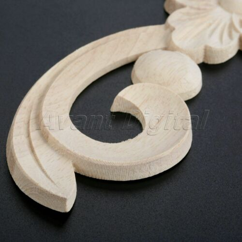 25*6cm European Style Unpainted Wooden Carved Long Onlay Applique Dyes Easily