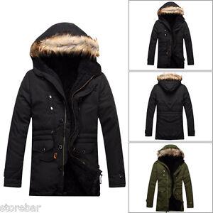 Homme-Veste-d-039-hiver-Manteau-Parka-Manteau-Encapuchonne-rembourre-Trench-Jacket