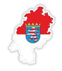 Hesse Hessen Landkarte Flagge Aufkleber Silhouette Motorrad Helm