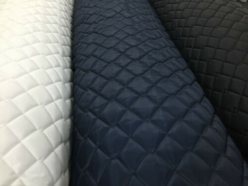 QUILTED FABRIC PU Waterproof 4oz 150CM wide BLACK WHITE NAVY Jackets Crafts