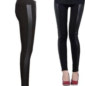 New Women/'s Wet Look Pu Pvc Panneau latéral en cuir synthétique Legging Pantalon Taille UK 8-22