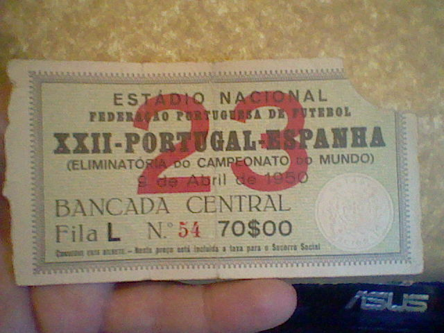 SIGNED TICKET PORTUGAL SPAIN  WORLD 1950 FOOTBALL CHAMPIONSHIP ELIMINATORY