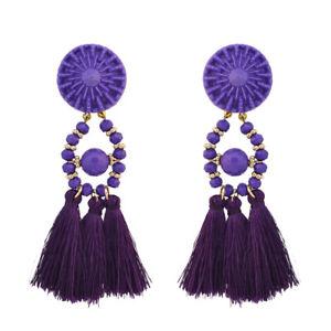 Boucles d/'Oreilles Gros Chandelier Argenté Rétro Violet Vintage Soirée CC 1