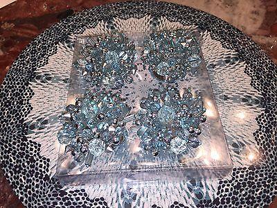 NWT Kim Seybert Neiman Marcus Blue Jewel Burst Beaded Napkin Rings Set 4