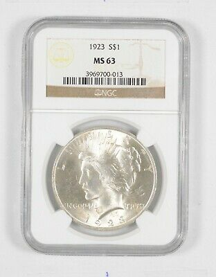 1923 US Peace Silver Dollar $1 NGC MS63