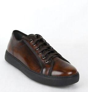 Salvatore-Ferragamo-Men-039-s-Fulton-Chocolate-Brown-Leather-Sneakers-659676