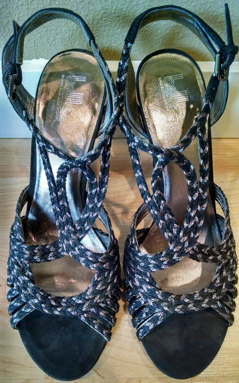 NOUVEAU    Sigerson Morrison belle sandales talons chaussures noir (Taille 10.5) NEUF