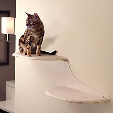 The Refined Feline Cat Cloud Cat Shelves In Off-white, Left Facing