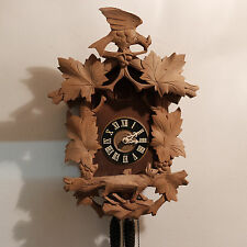 Black Forest Cuckoo Clock Working Wooden Fox Large Bird West Germany Vintage