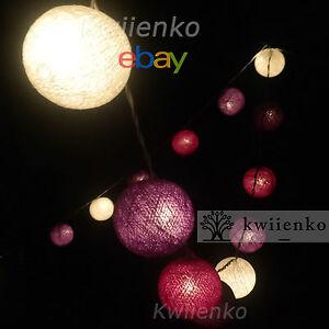 20 lila mischen stoff ball kugel lichterkette party patio. Black Bedroom Furniture Sets. Home Design Ideas