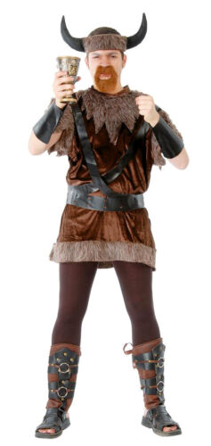 Adult Mens Viking Costume Warrior Warlord Thor Saxon Fancy Dress Outfit New