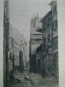 Rare old paris aqua fortis nineteenth street base ursins A. trimolet etching signed