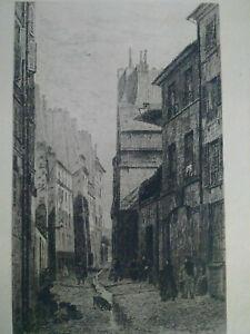 Vieux Paris rare eau-forte XIXème Rue Base des Ursins A. Trimolet gravure signée