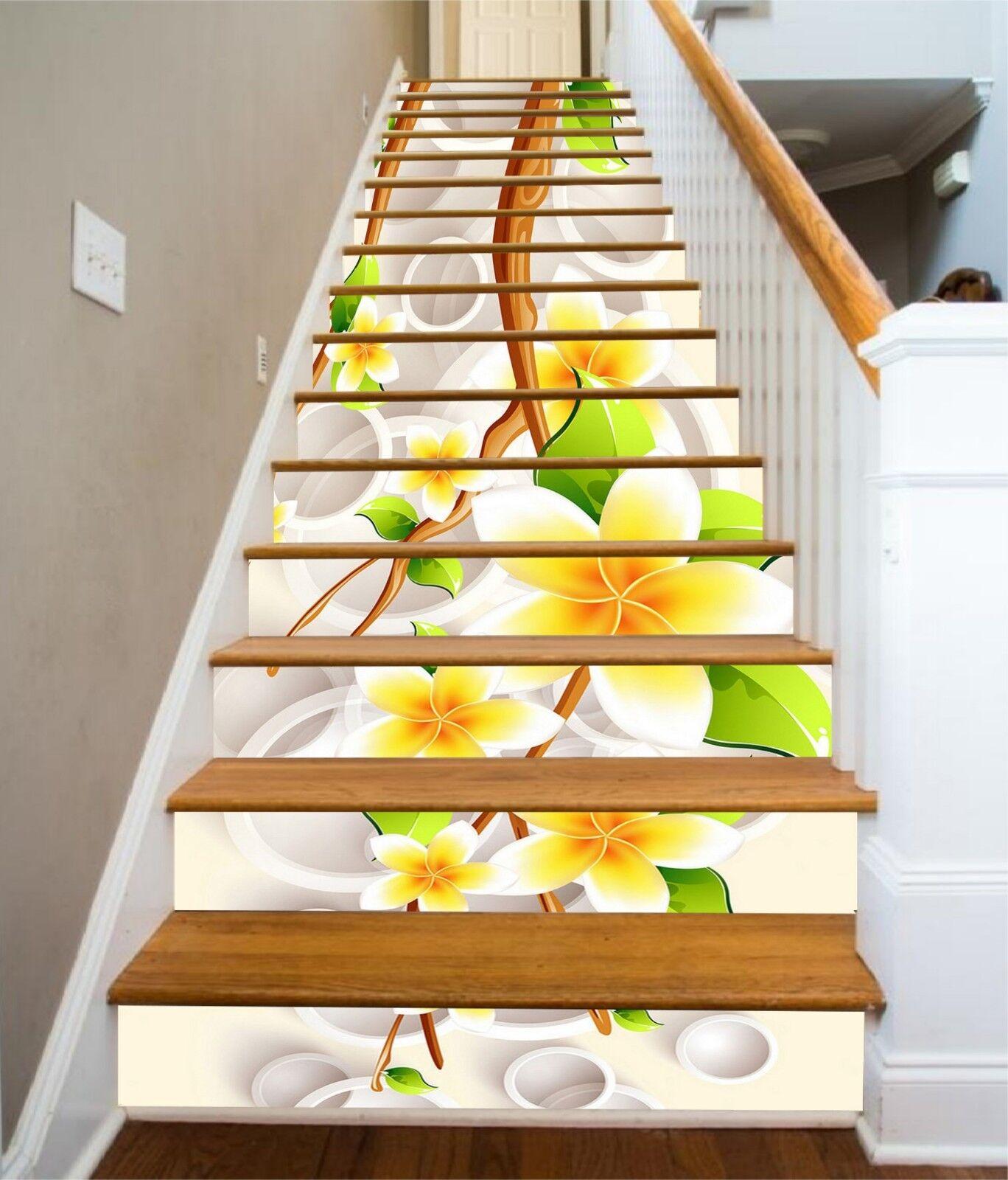 3D Gelb Petals Stair Risers Decoration Photo Mural Vinyl Decal WandPapier UK