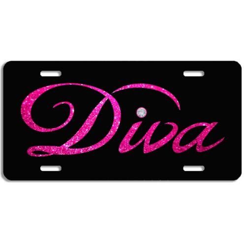 Diva vanity  aluminum vehicle license plate car truck SUV tag pink and black
