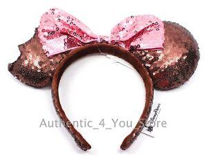 Disney Parks Mickey Minnie Mouse Ice Cream Bar Sequin Ears Headband Pink Bow New