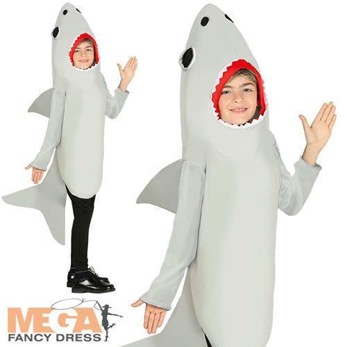 Shark Kids Fancy Dress Sea Animal Creature Boys Girls Halloween Costume Outfit