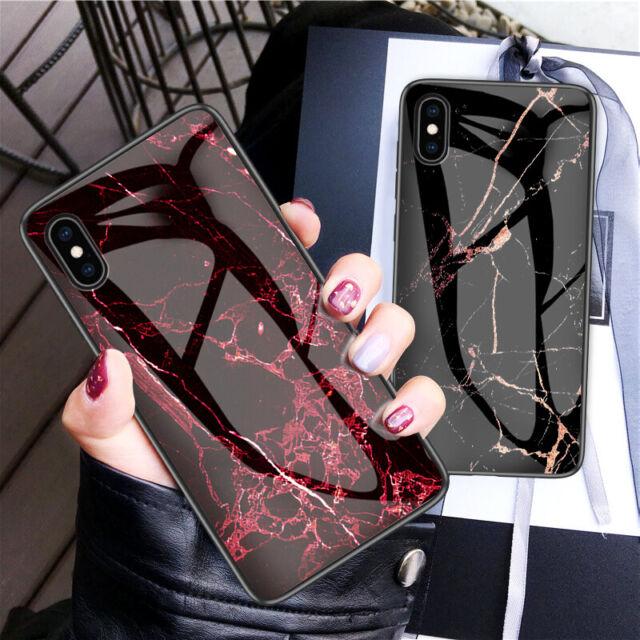 Marbre Motif Verre Trempé Arrière Coque Rigide pour IPHONE XS Max XR X 8 6 7+