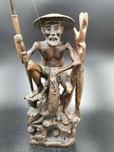 ANCIENNE STATUETTE en BOIS SCULPTE d'un PECHEUR de BALI INDONESIE WOOD FISHERMAN