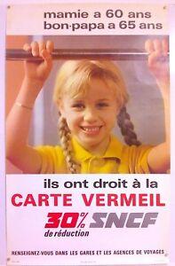 Carte Vermeil Sncf.Details Sur Carte Vermeil Sncf Affiche Originale Circa 1970