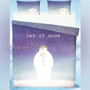 New-The-Snowman-Let-it-Snow-Reversible-Duvet-Cover-Set-Bedding-Primark-Home-NAVY