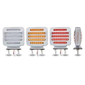 Flatline Double Face Square LED Lights - Amber/Red LED - Clear Lens